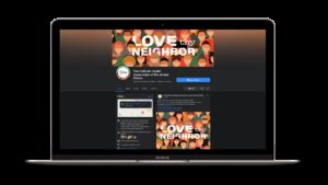 Mockup of CHA Facebook page on MacBook