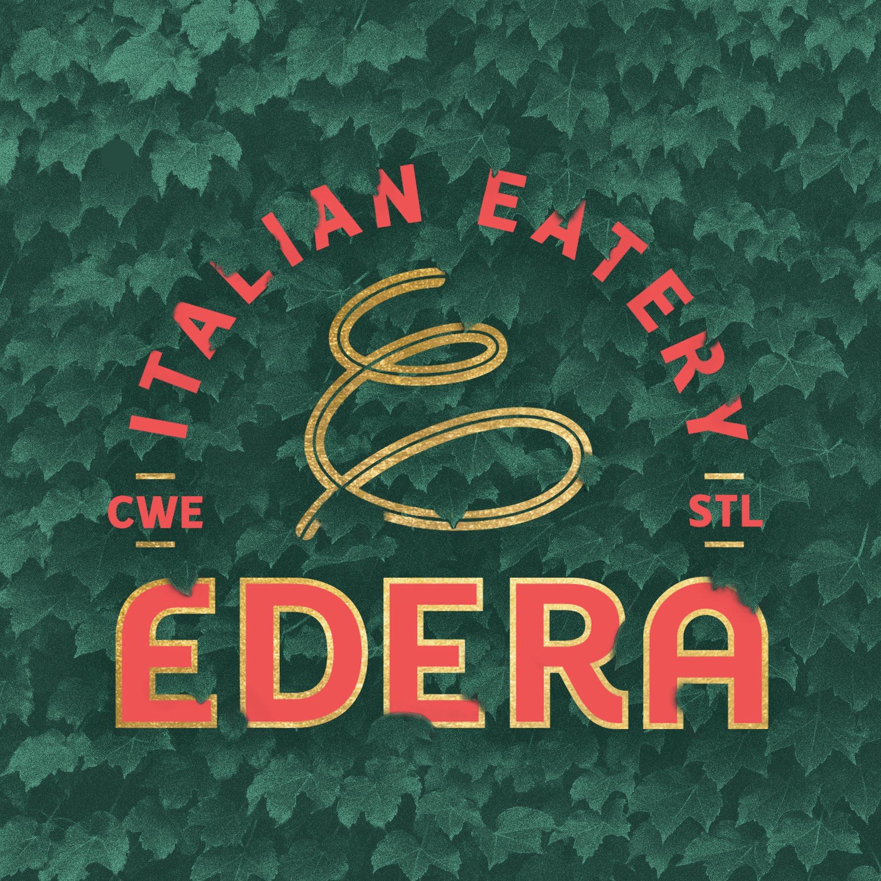 Edera Italian Eater Logo on ivy backdrop