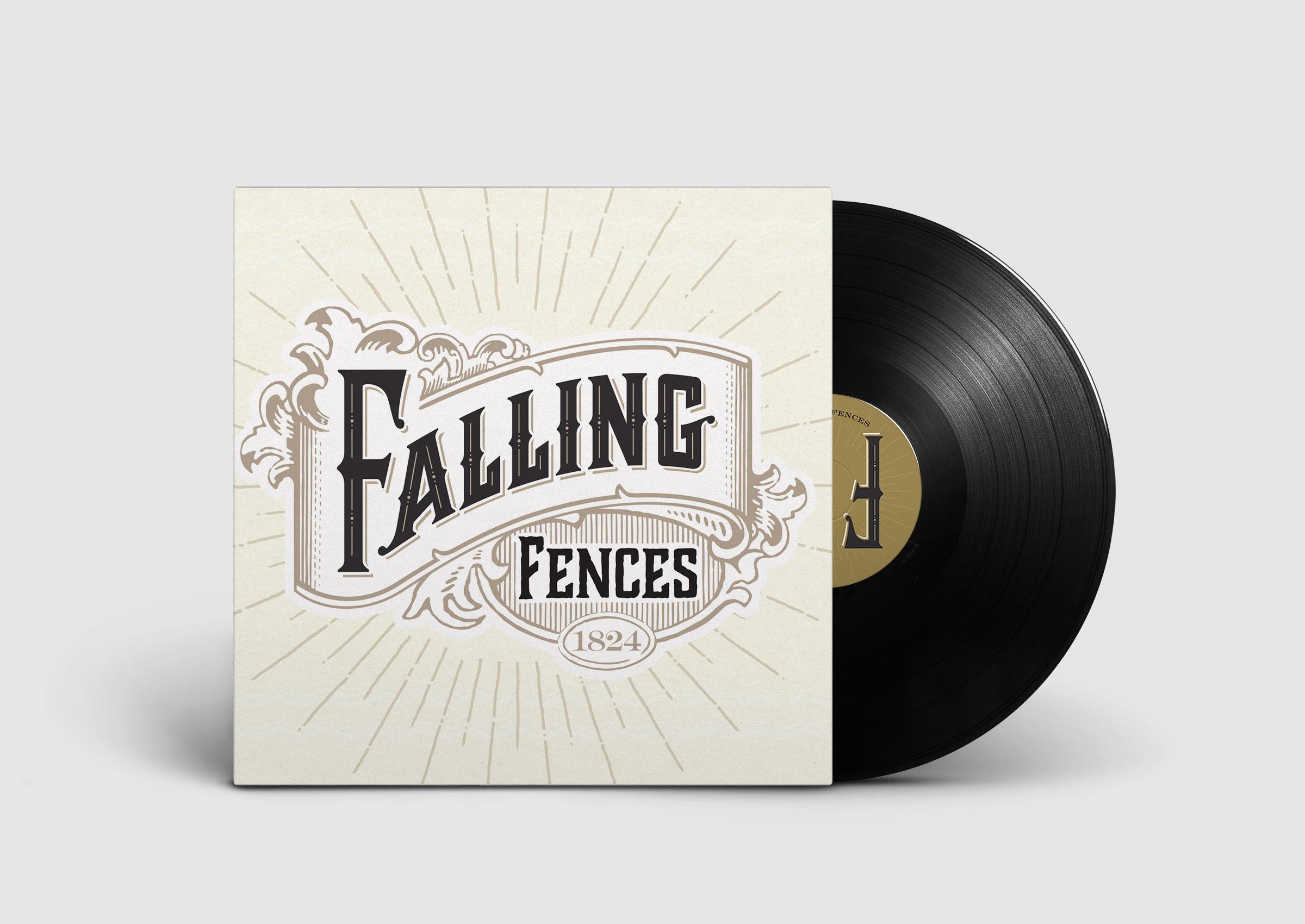 Falling Fences logo on vinyl record