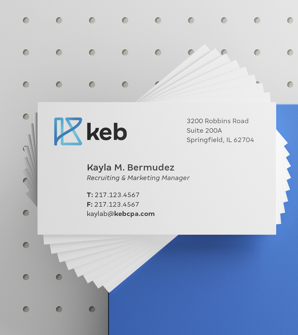 Stack of KEB business cards