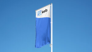 KEB exterior flag on blue sky