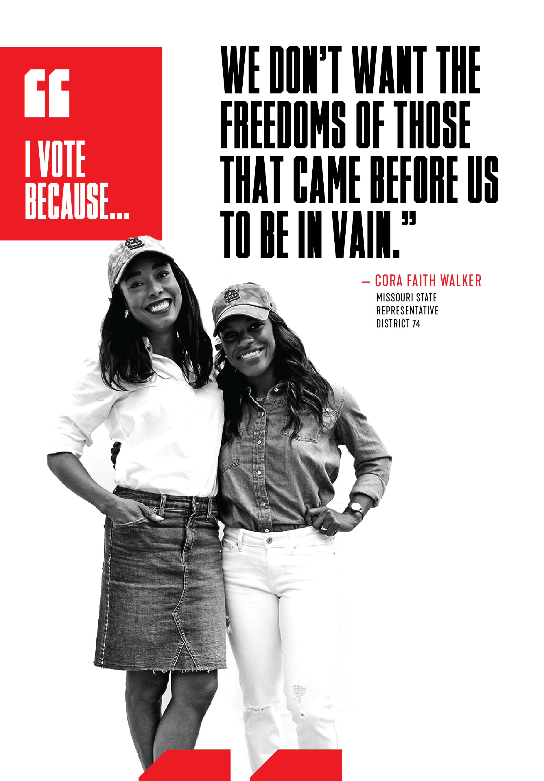 """Cora Faith Walker: """"I vote because we don't want the freedoms of those that came before us to be in vain."""""""