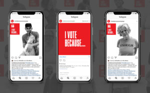 I Vote Because social media campaign shown on three phones