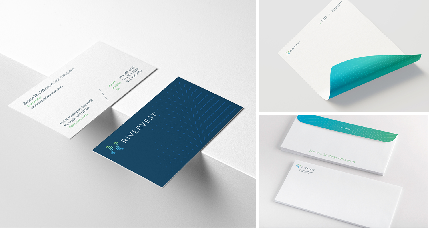 RiverVest business cards and stationery
