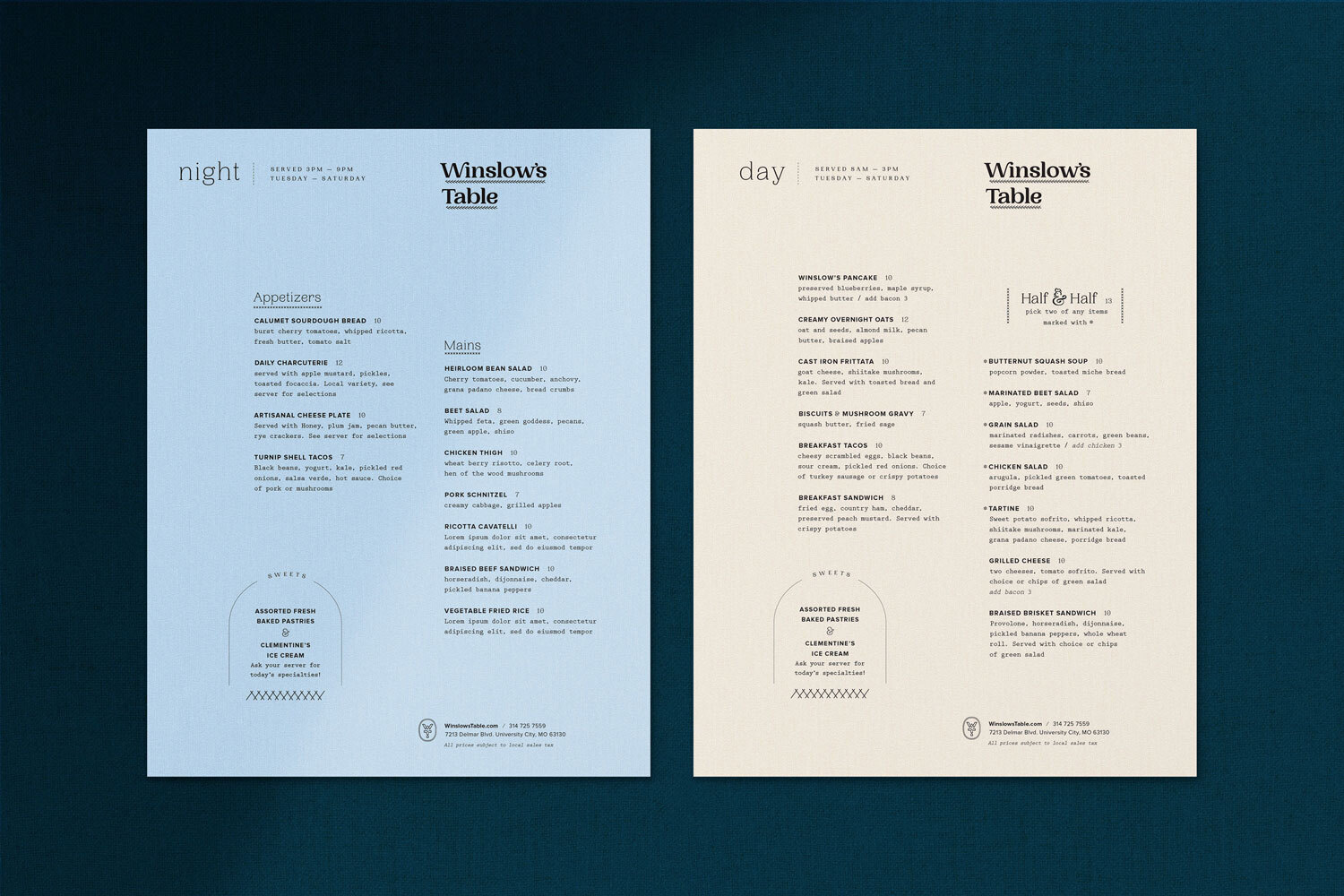 Winslow's Table Night and Day Menus