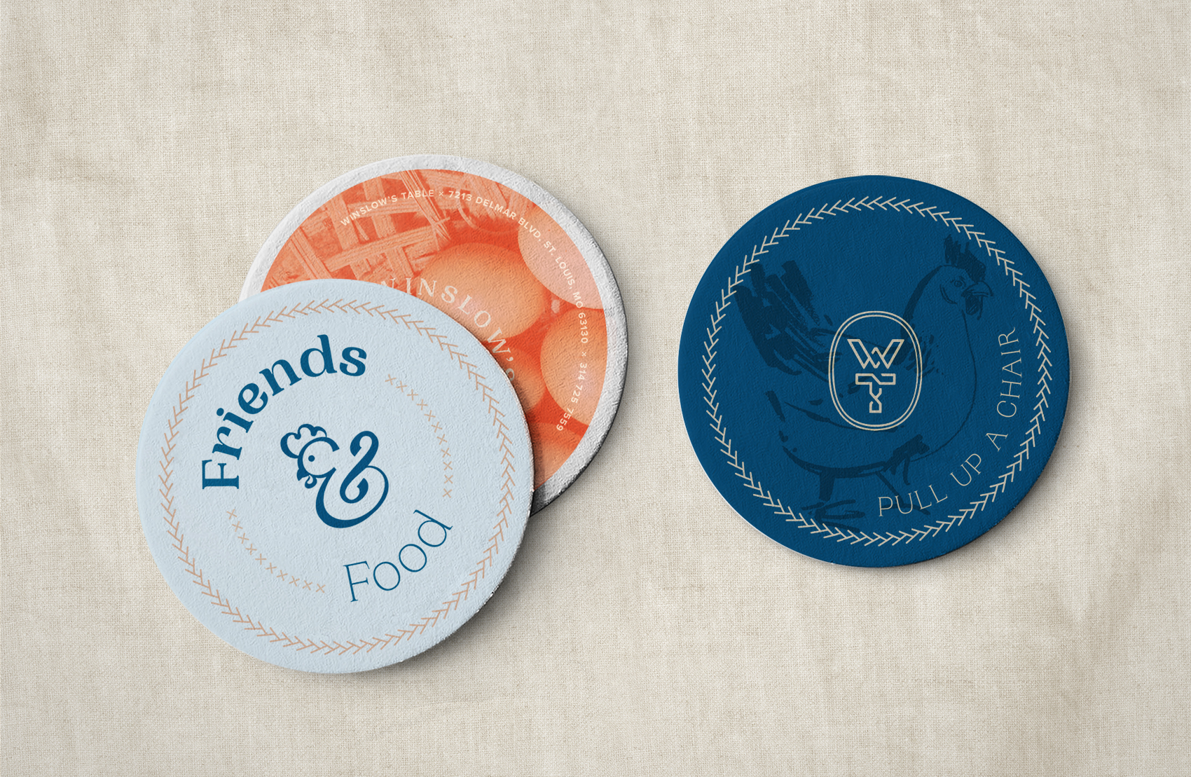 Three Winslow's table drink coasters